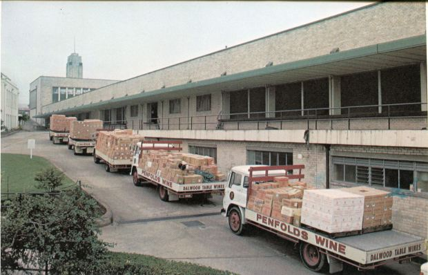 Penfolds trucks prepare to deliver several delicious drops to premier locations around NSW, 1975.