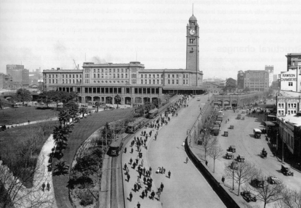 Central Station's clock tower completed, 1924. Image courtesy State Records NSW.