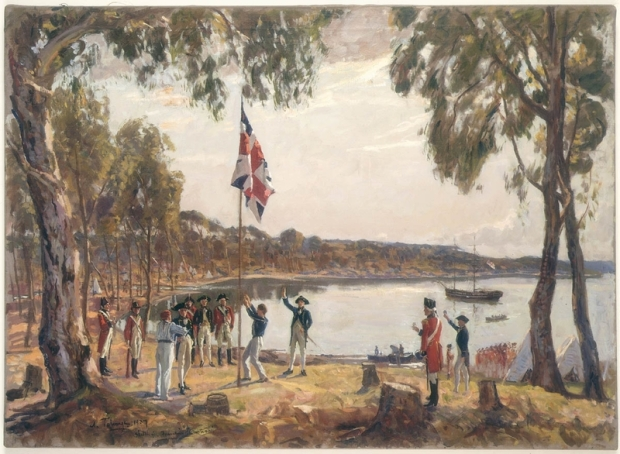 "Run it up the flagpole and see... ""The Founding of Australia. By Capt. Arthur Phillip R.N. Sydney Cove, Jan. 26th 1788"" by Algernon Talmage. Image courtesy Mitchell Library, State Library of NSW"